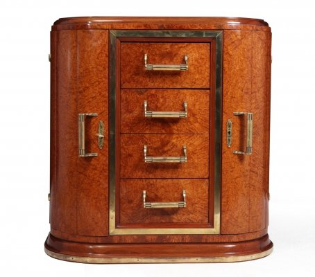 French Art Deco Commode in Amboyna, c1930