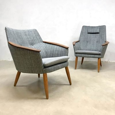 Set of vintage ladies & gentleman's arm chairs by Madsen & Schubell for Bovenkamp
