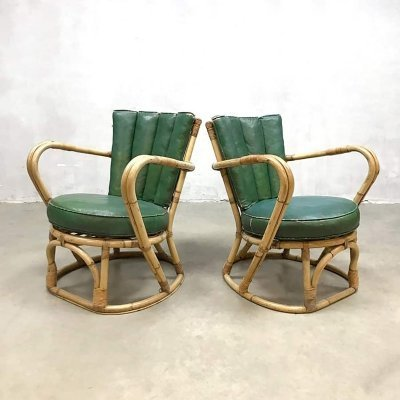 Set of 2 vintage rattan bamboo arm chairs