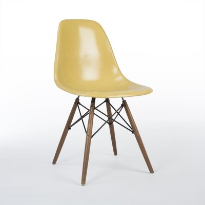 Ochre Herman Miller Original Eames DSW Dining Side Shell Chair