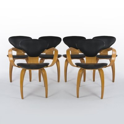 Set of 6 'Pretzel' Plywood Chairs by Norman Cherner