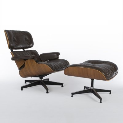 Brown Herman Miller Original Walnut Eames Lounge Chair & Ottoman