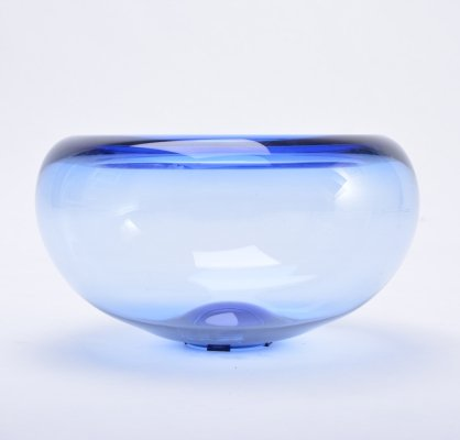 Danish Holmegaard 'Provence' bowl in blue glass by Per Lütken, 1950s