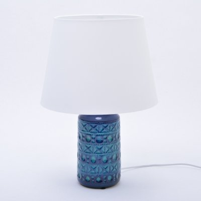 Vintage 1960s Blue & Green Danish Ceramic Table Lamp by Lyskaer