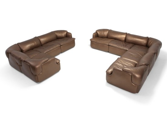 Bronze Leather 'Confidential' Sofa by Alberto Rossell for Saporiti, 1970s