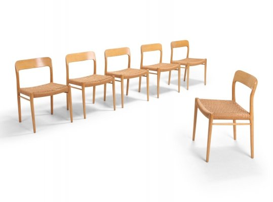 Scandinavian Modern Chairs in Oak by N.O. Möller for J.L. Mollers, 1970s