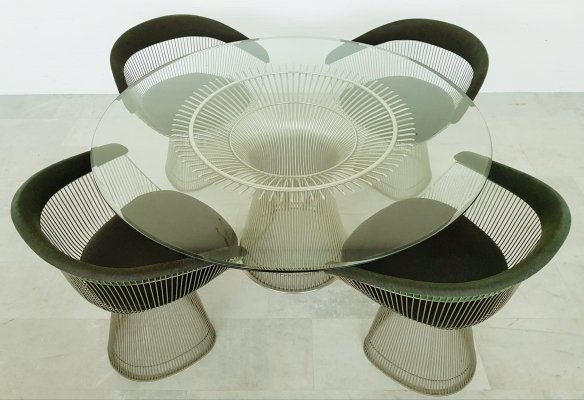 Warren Platner dining room set with original dark green fabric for Knoll, 1960s