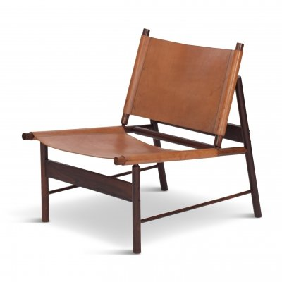 Rosewood & Cognac Leather Lounge Chair by Jorge Zalszupin, Brazil 1955