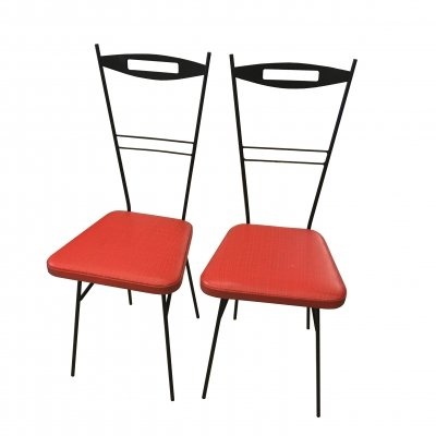 Pair of black lacquered metal chairs, 1950s