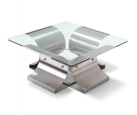 Mid-Century Modern Brushed Steel Coffee Table, 1970s