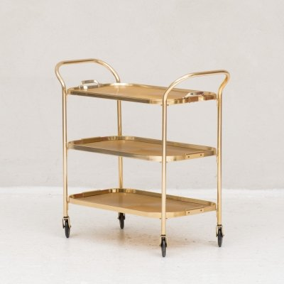 Gold-coloured aluminium trolley by Kaymet, UK 1960's