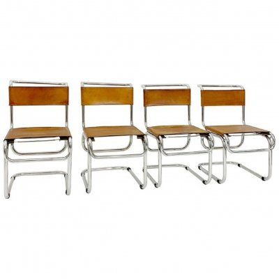 Set of 4 Tubular Steel & Cognac Leather Cantilever Chairs