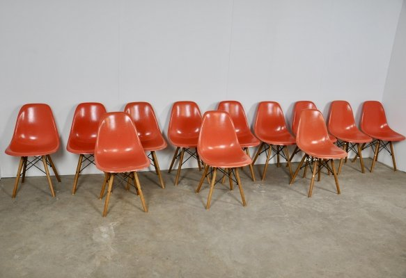 Set of 12 'DSW' Chairs by Charles & Ray Eames for Herman Miller, 1970s