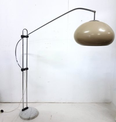 Large adjustable space age floor lamp with marble base, 1970s