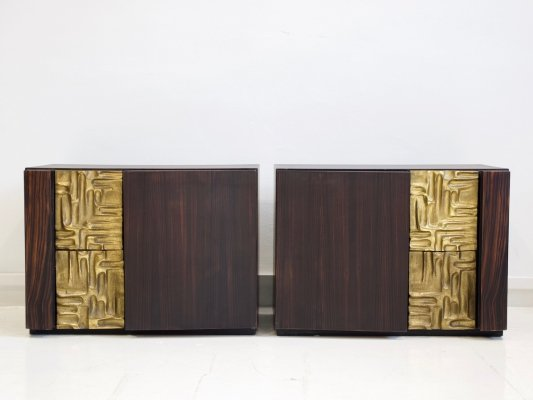 Pair of 'Cinzia' Credenzas with Bronze Details by Luciano Frigerio