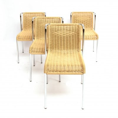 4 'Bauhaus style' stackable dining chairs with rope weaving seat & back, 1980s