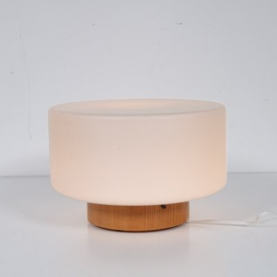 Milk glass table lamp, 1960s