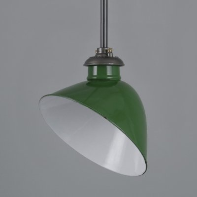 Rodded green enamel substation pendants by REVO, 1950s