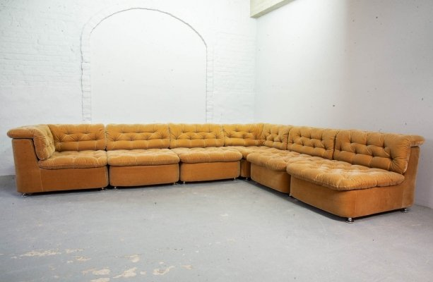 Peach Velvet Modular Lounge Sofaset with 6 elements for Dreipunkt, Germany 1970s