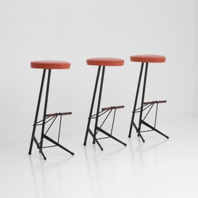 Set of bar stools by architect Willy Van Der Meeren for Tubax, 1950