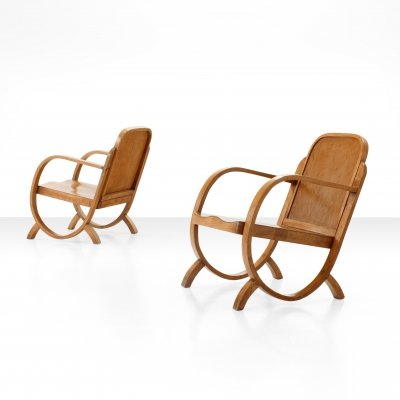 Pair of Gerdau Armchairs in Caviuna Wood, Brazil 1940s