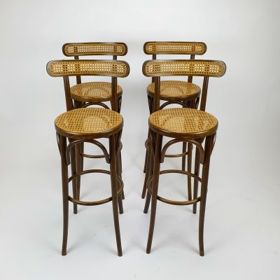 4 Mid Century Thonet barstools with birch & cane, 1960s