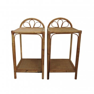 Set of 2 Cane Bedside Tables, 1960s
