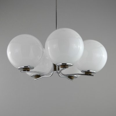 1960s vintage Czech opaline glass chandelier