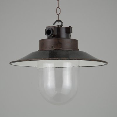 1950s Industrial glass & enamel pendant lights
