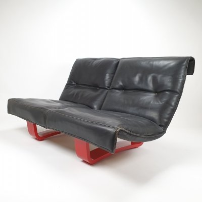 2 seat sofa with a red lacquered wooden base & thick neck leather, 1980s