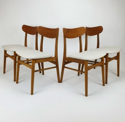 Set of 4 Farstrup teak dining chairs with kvadrat wool, 1960s
