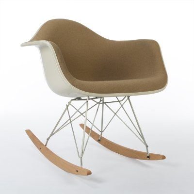 Beige Fabric Herman Miller Original Vintage Eames RAR Rocking Arm Chair