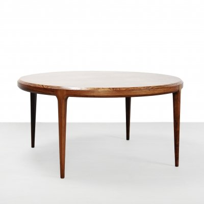 Round coffee table in Rio Palissander by Danish designer Johannes Andersen
