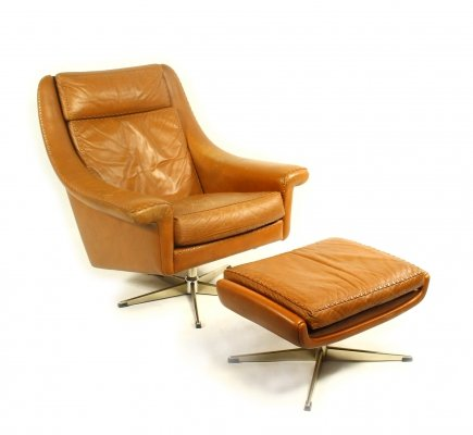 Danish Leather Swivel Chair with Ottoman by Aage Christiansen, 1960s