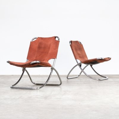Pair of chrome framed & leather folding chairs, 1960s