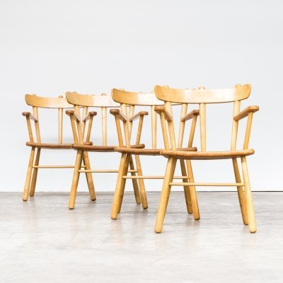 Set of 4 Oak round wood dining chairs, 1970s