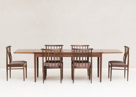 Rosewood Dining set with 6 chairs & extendable table, Denmark 1960's