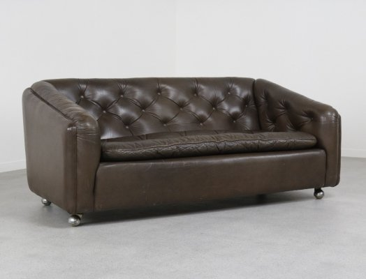 Vintage leather 'C610' 2 seater sofa by Geoffrey Harcourt for Artifort, 1969