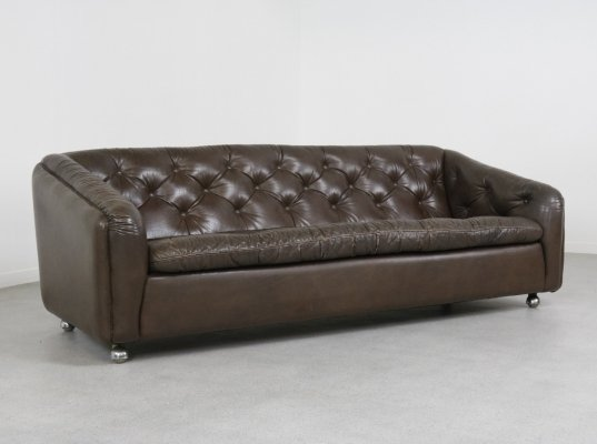 Vintage leather 'C610' 3 seater sofa by Geoffrey Harcourt for Artifort, 1969