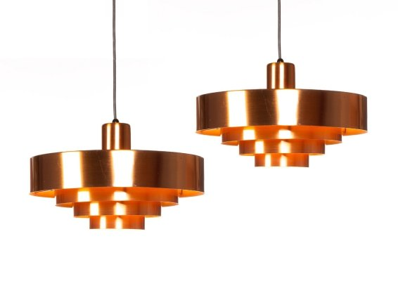 Vintage set of two Fog & Mørup copper Roulet pendant lamps by Jo Hammerborg