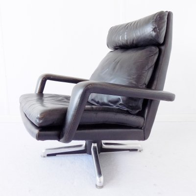 Hans Kaufeld Black Leather Lounge Chair, 1960s