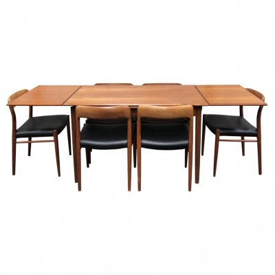 Niels O. Møller teak extendable dining table with model 75 chairs, Denmark 1950's