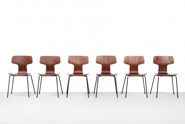 Set of 6 3103 Hammer dining chairs by Arne Jacobsen for Fritz Hansen, 1950s