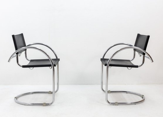 Vintage cantilever black leather & chrome chairs