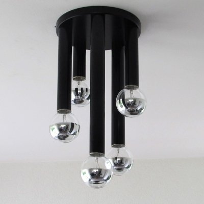 Black Ceiling Lamp with Tubes, 1980's