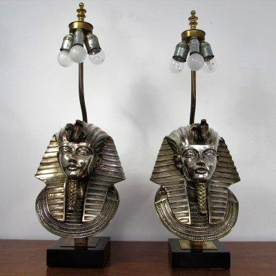 Set of 2 Pharaoh Table Lamps by Lustrerie Deknudt, 1970's