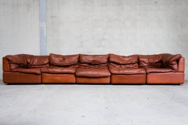 Brown Leather Modular Sofa by Rolf Benz