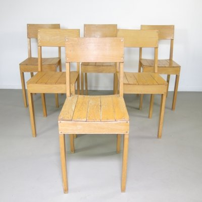 Rare set of 6 dining chairs by Piet Hein Eek for the Bisschop Bekkers Lyceum Eindhoven