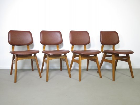 Set of 4 Danish birchwood dining chairs, 1960s