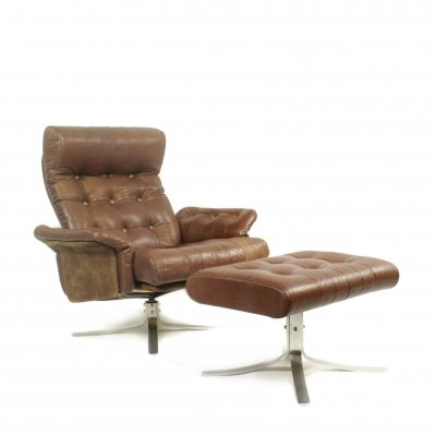 Danish leather 'Atlantis' swivel lounge chair with ottoman by Ebbe Gehl & Søren Nissen for Jeki Møbler
